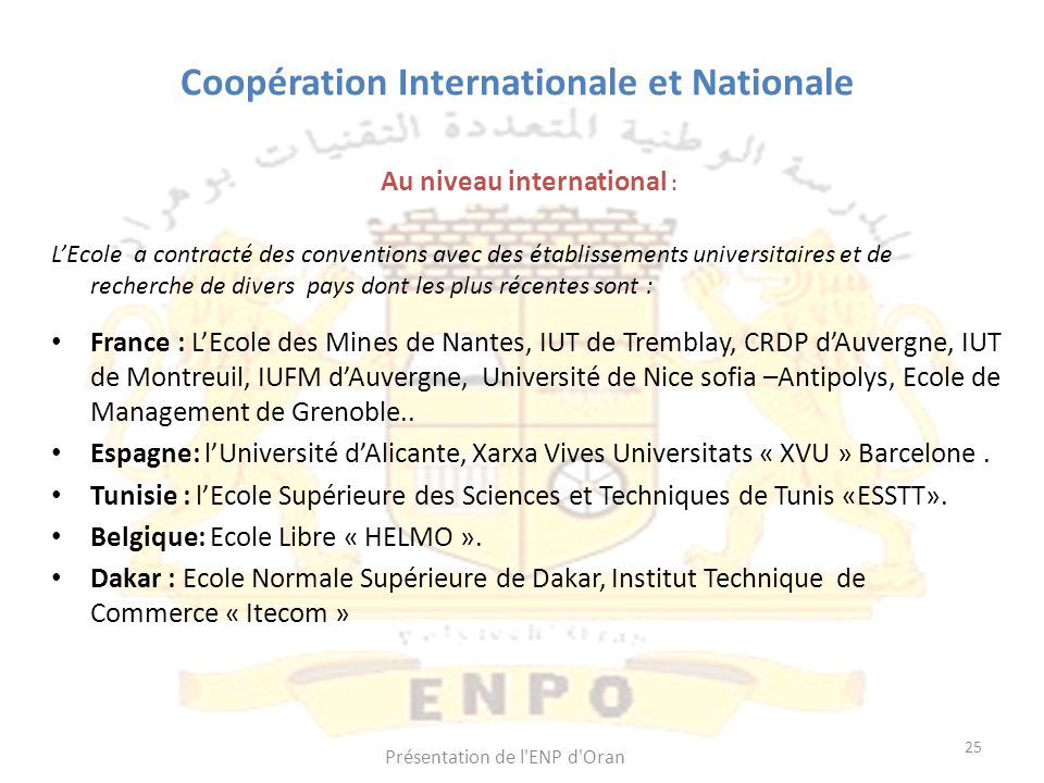 Coopération Internationale et Nationale
