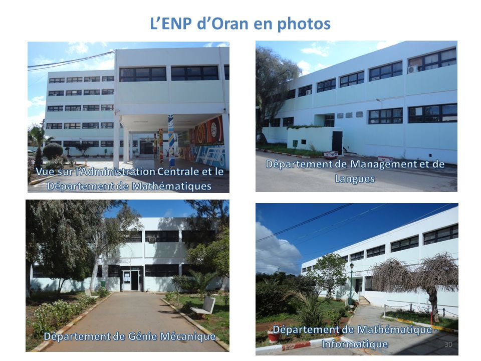 L'ENP d'Oran en photos Département de Management et de Langues