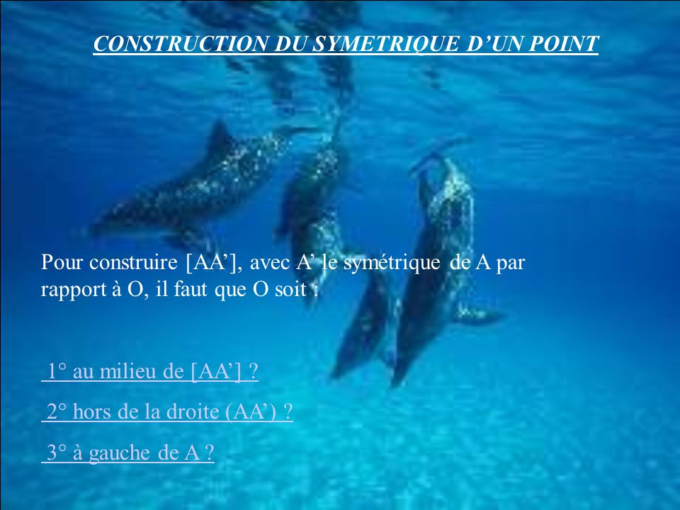 CONSTRUCTION DU SYMETRIQUE D'UN POINT