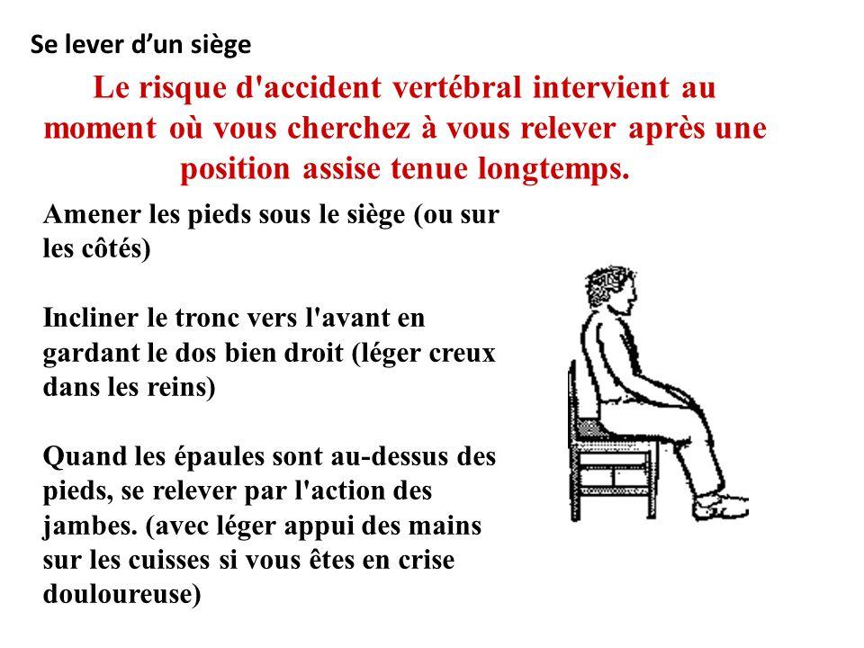 Se lever d'un siège Le risque d accident vertébral intervient au moment où vous cherchez à vous relever après une position assise tenue longtemps.