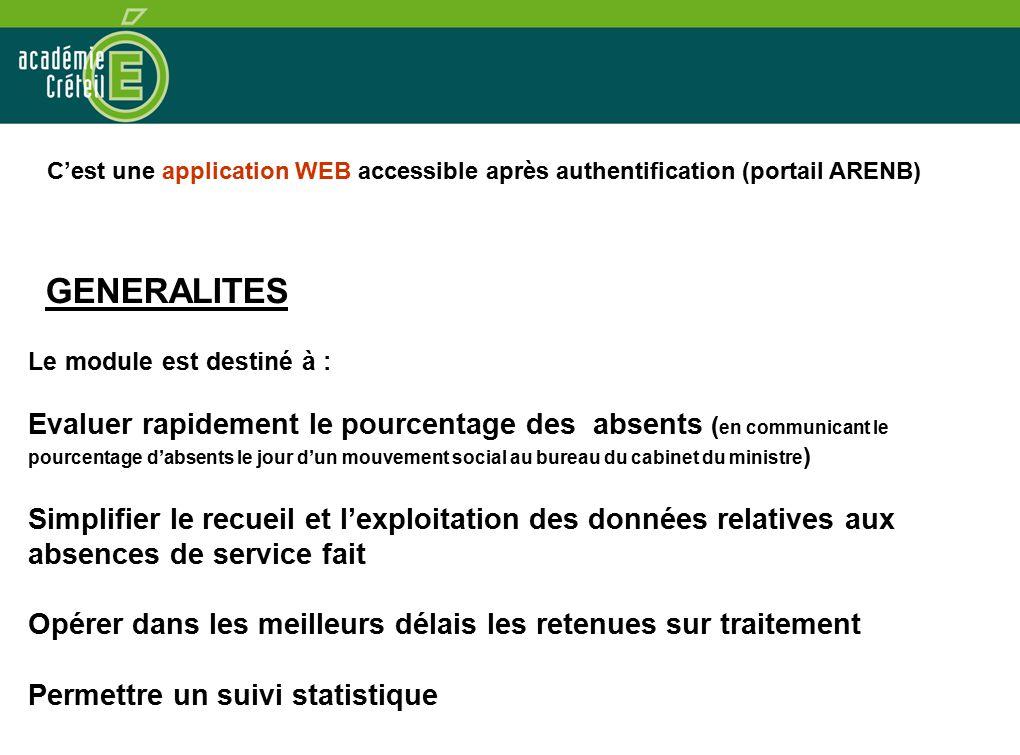 C'est une application WEB accessible après authentification (portail ARENB)