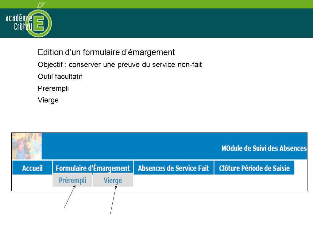 Edition d'un formulaire d'émargement