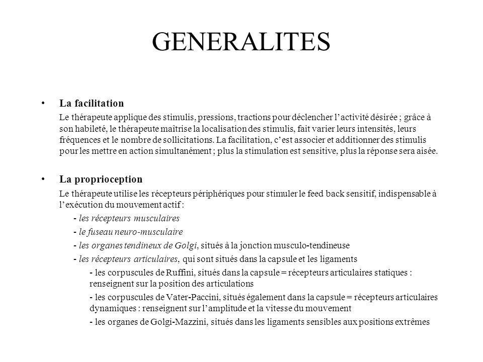 GENERALITES La facilitation La proprioception