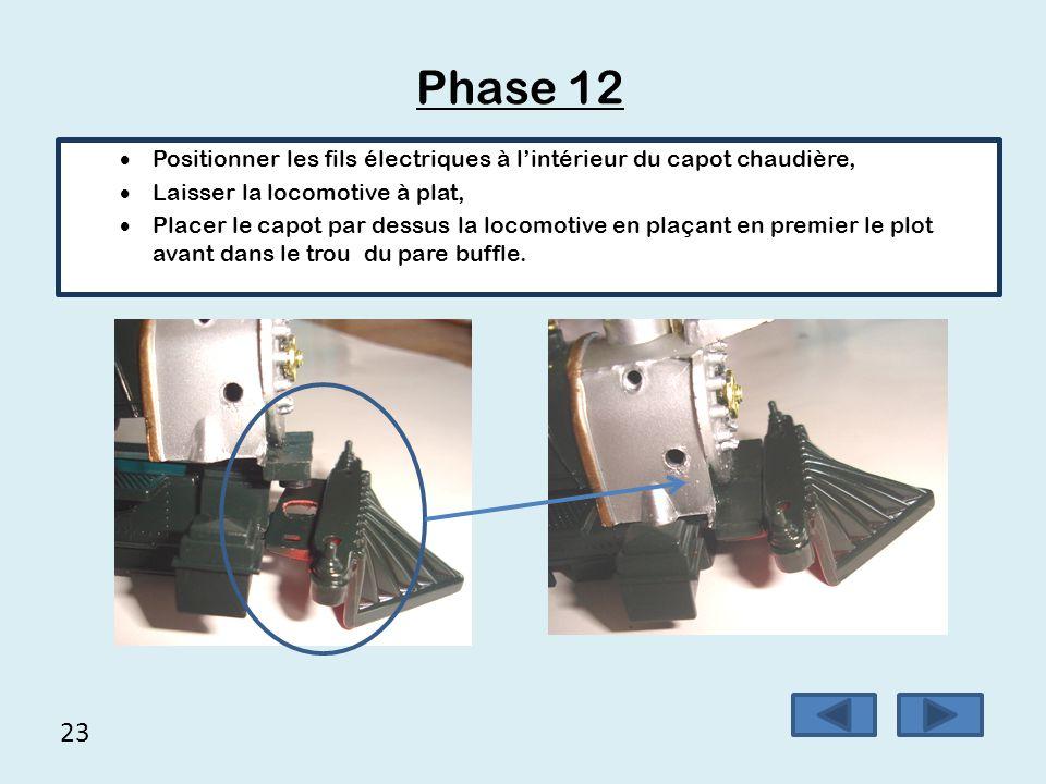 Phase 12 Positionner les fils électriques à l'intérieur du capot chaudière, Laisser la locomotive à plat,