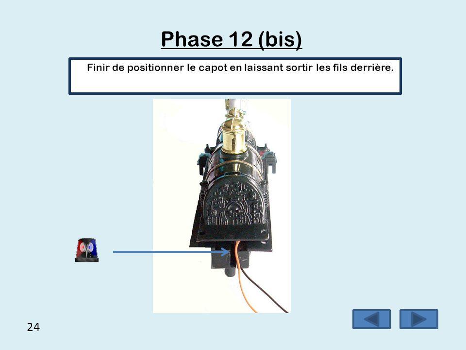 Phase 12 (bis) Finir de positionner le capot en laissant sortir les fils derrière. 24