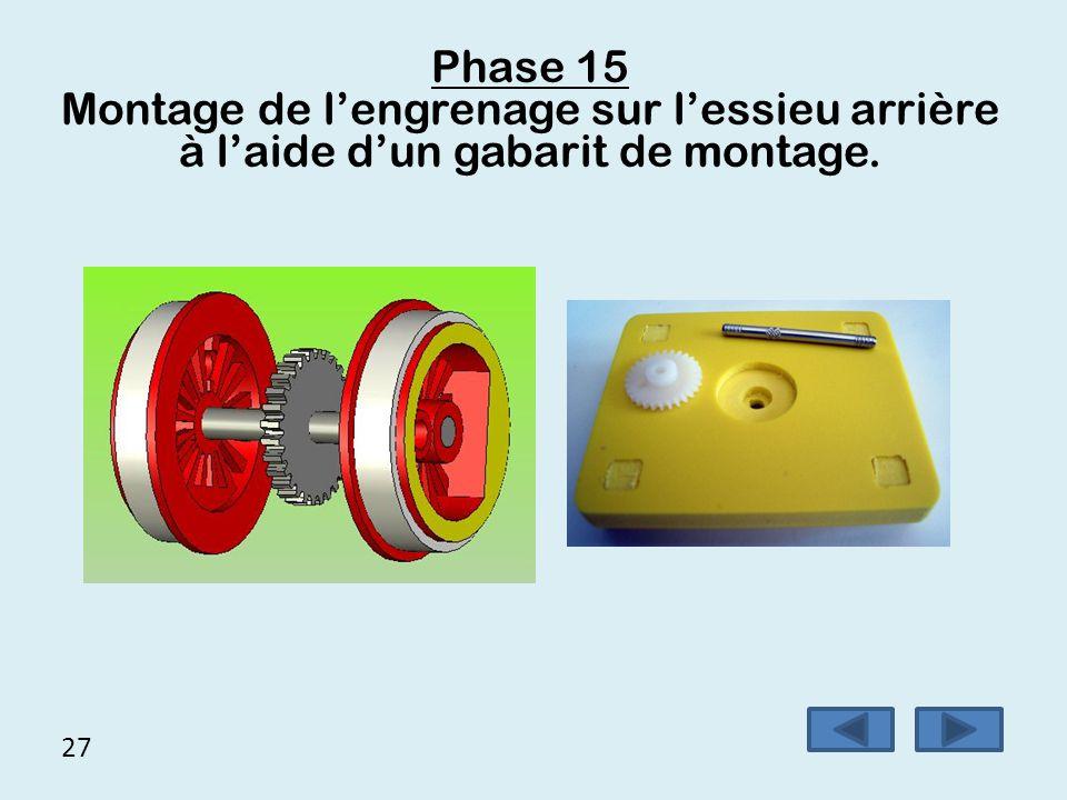 Phase 15 Montage de l'engrenage sur l'essieu arrière à l'aide d'un gabarit de montage. 27