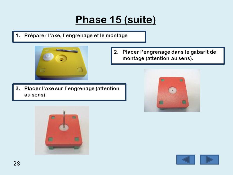 Phase 15 (suite) 28 Préparer l'axe, l'engrenage et le montage