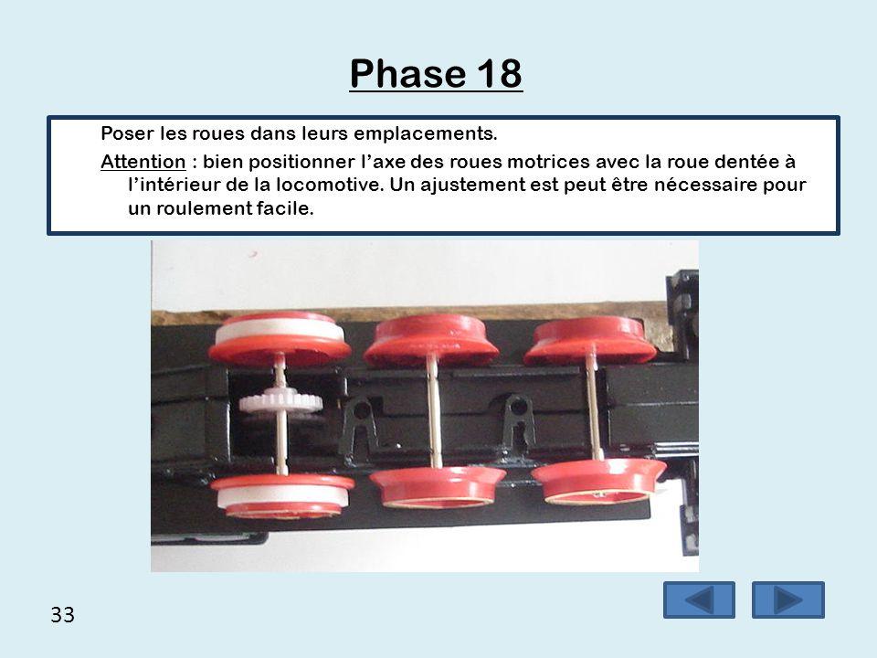 Phase 18 33 Poser les roues dans leurs emplacements.