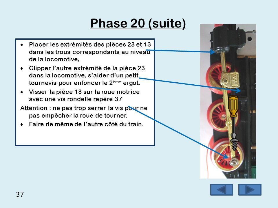 Phase 20 (suite) Placer les extrémités des pièces 23 et 13 dans les trous correspondants au niveau de la locomotive,