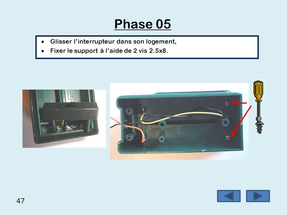 Phase 05 47 Glisser l'interrupteur dans son logement,
