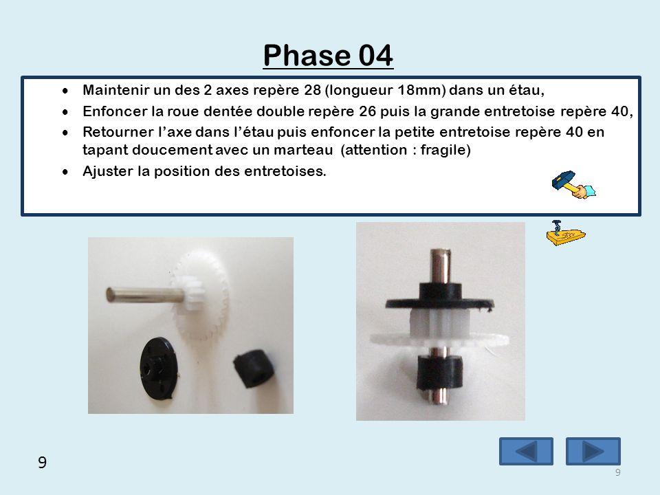 Phase 04 Maintenir un des 2 axes repère 28 (longueur 18mm) dans un étau,