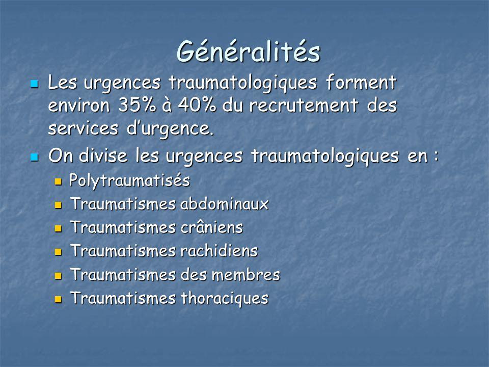 Généralités Les urgences traumatologiques forment environ 35% à 40% du recrutement des services d'urgence.