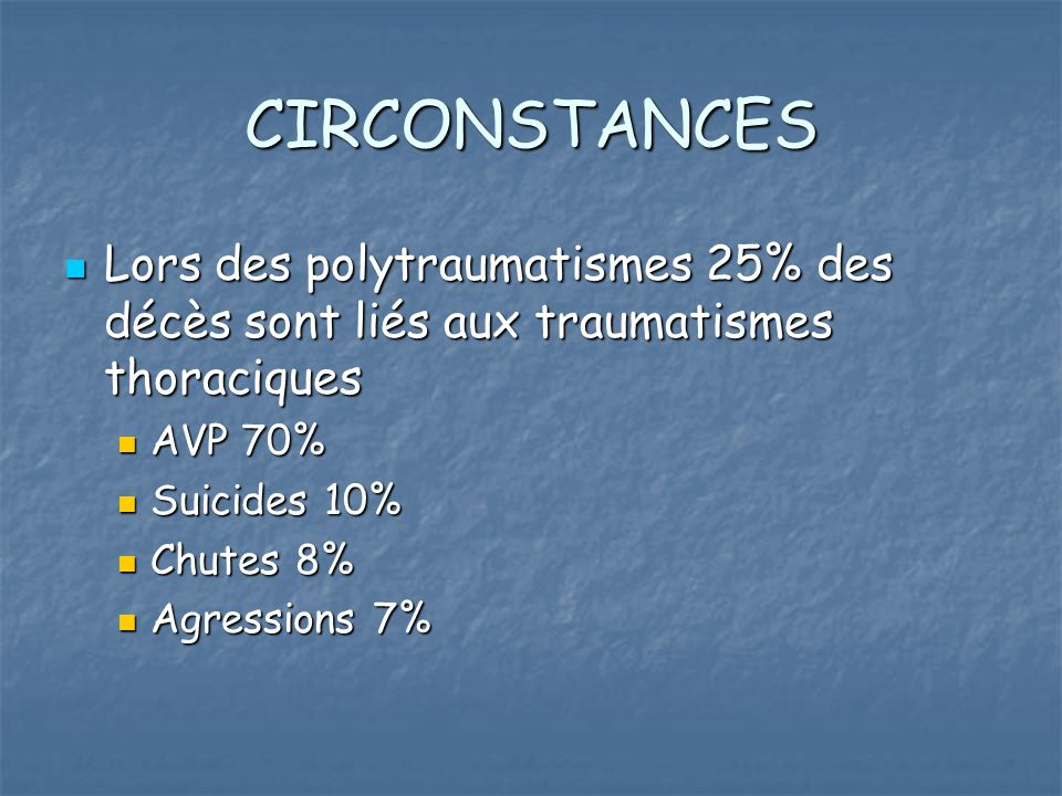 CIRCONSTANCES Lors des polytraumatismes 25% des décès sont liés aux traumatismes thoraciques. AVP 70%