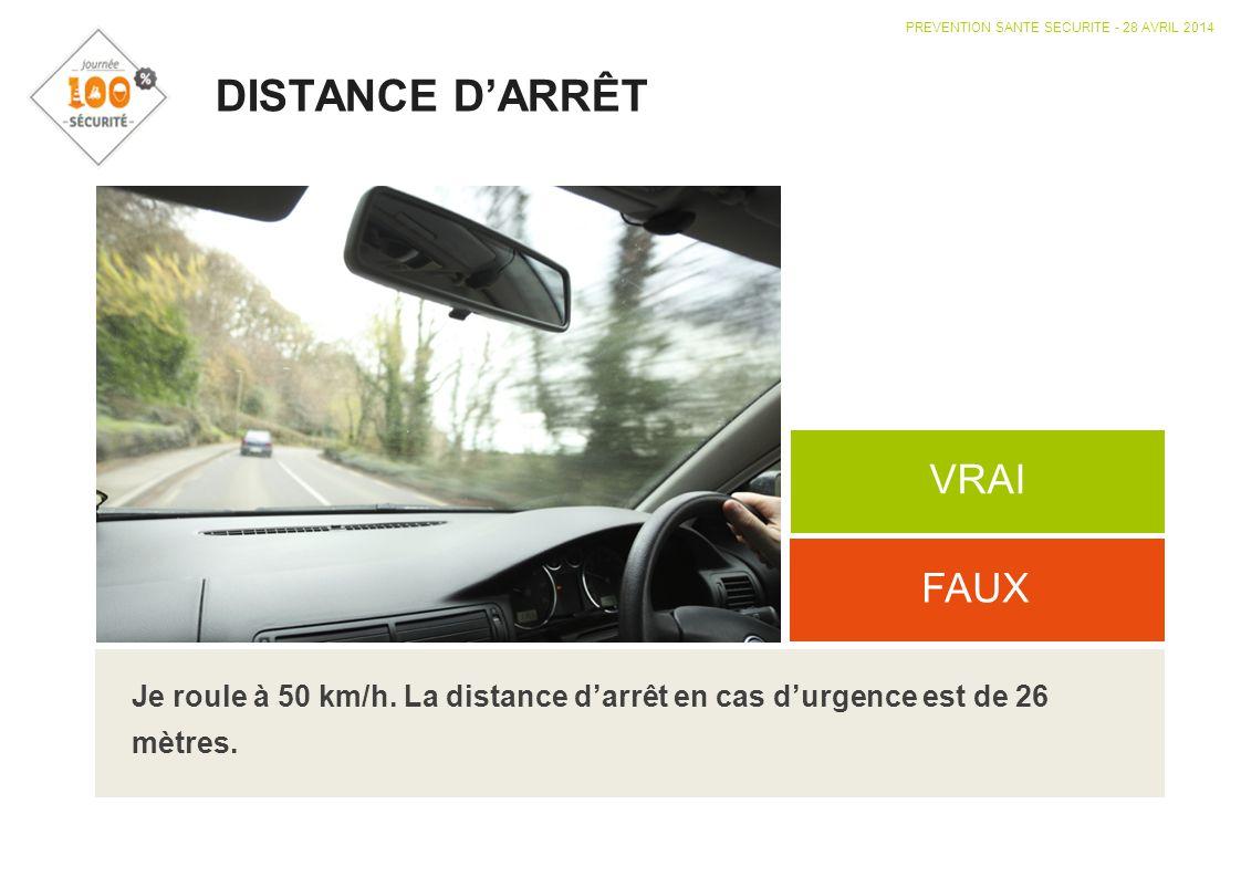 DISTANCE D'ARRÊT VRAI FAUX