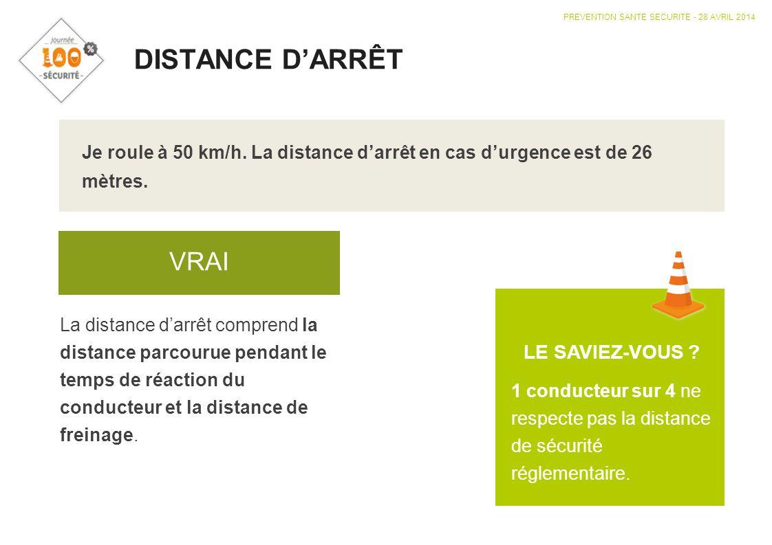 DISTANCE D'ARRÊT VRAI LE SAVIEZ-VOUS