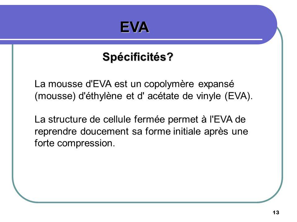 EVA Spécificités La mousse d EVA est un copolymère expansé (mousse) d éthylène et d acétate de vinyle (EVA).