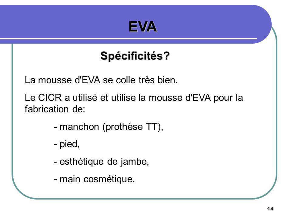 EVA Spécificités La mousse d EVA se colle très bien.