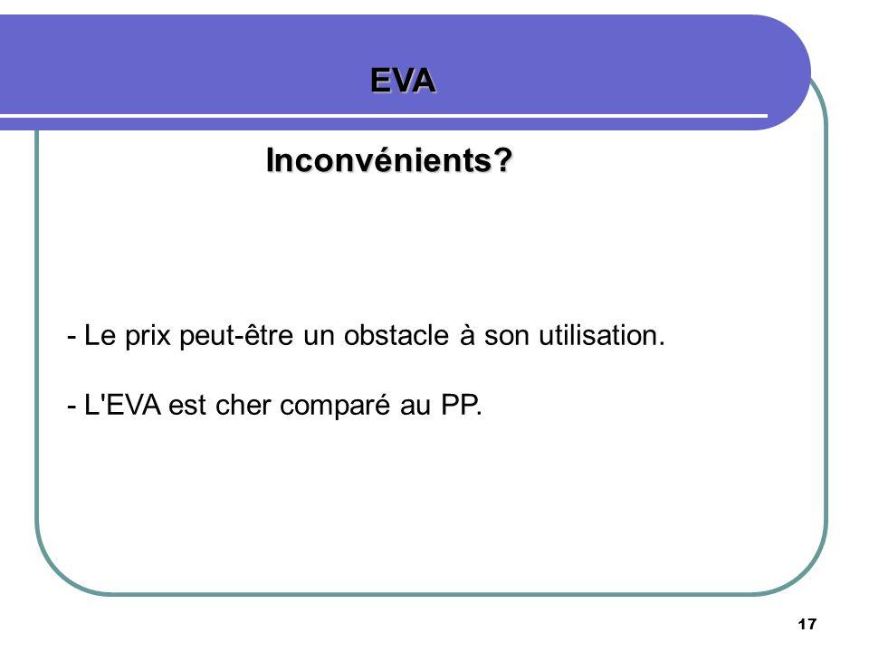 EVA Inconvénients - Le prix peut-être un obstacle à son utilisation.