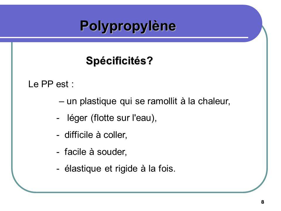 Polypropylène Spécificités Le PP est :
