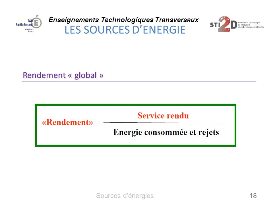 Rendement « global » Sources d'énergies 18