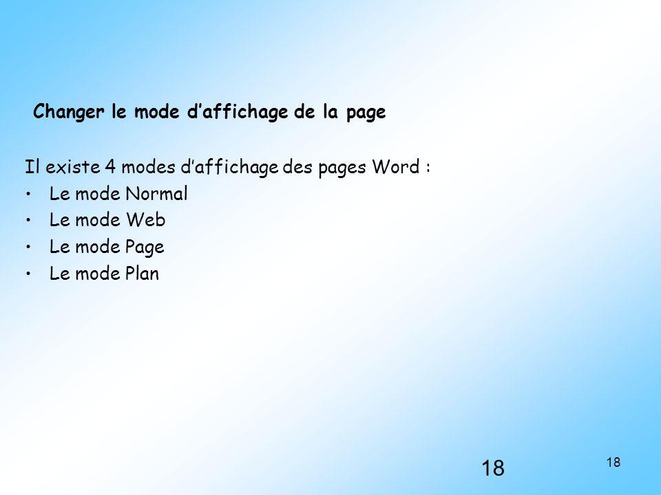 Changer le mode d'affichage de la page