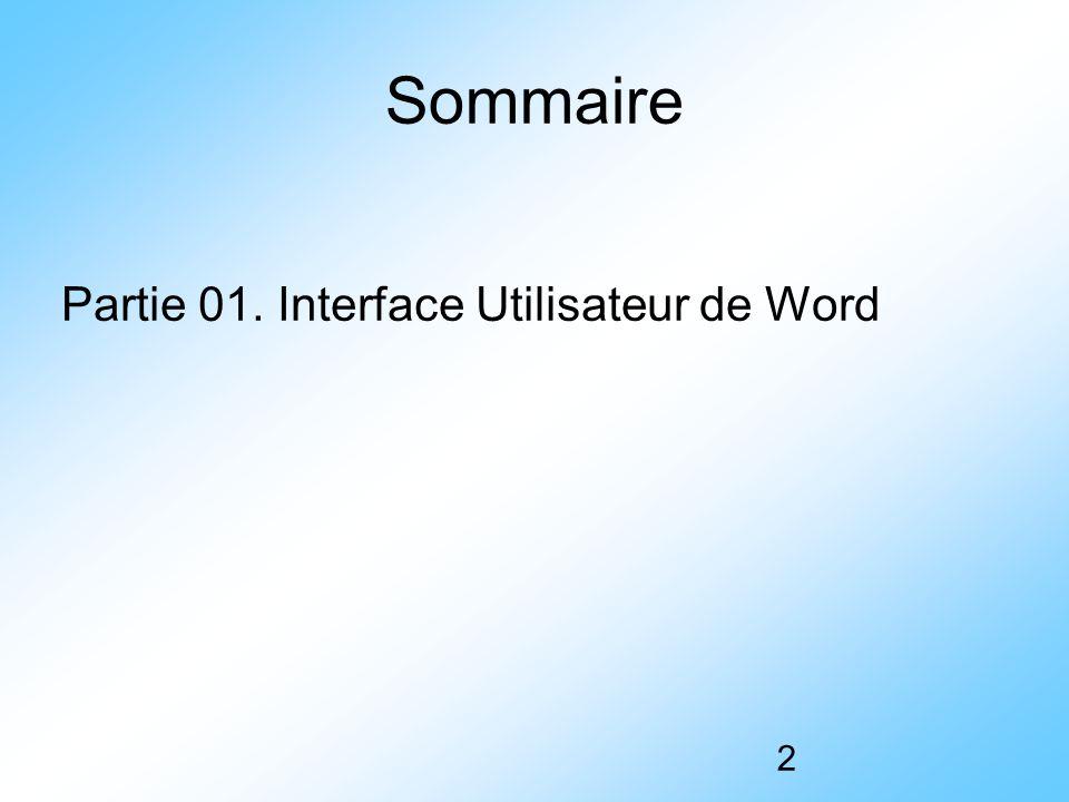 Sommaire Partie 01. Interface Utilisateur de Word