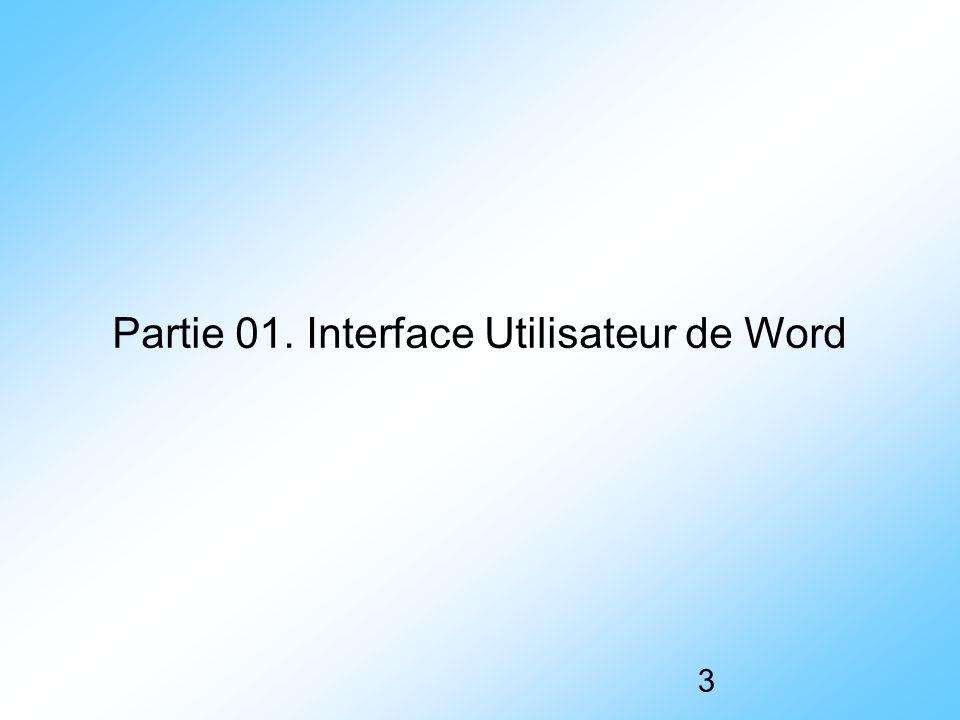 Partie 01. Interface Utilisateur de Word