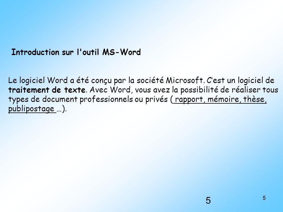 Introduction sur l outil MS-Word