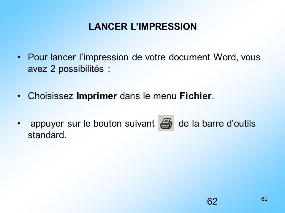 Choisissez Imprimer dans le menu Fichier.