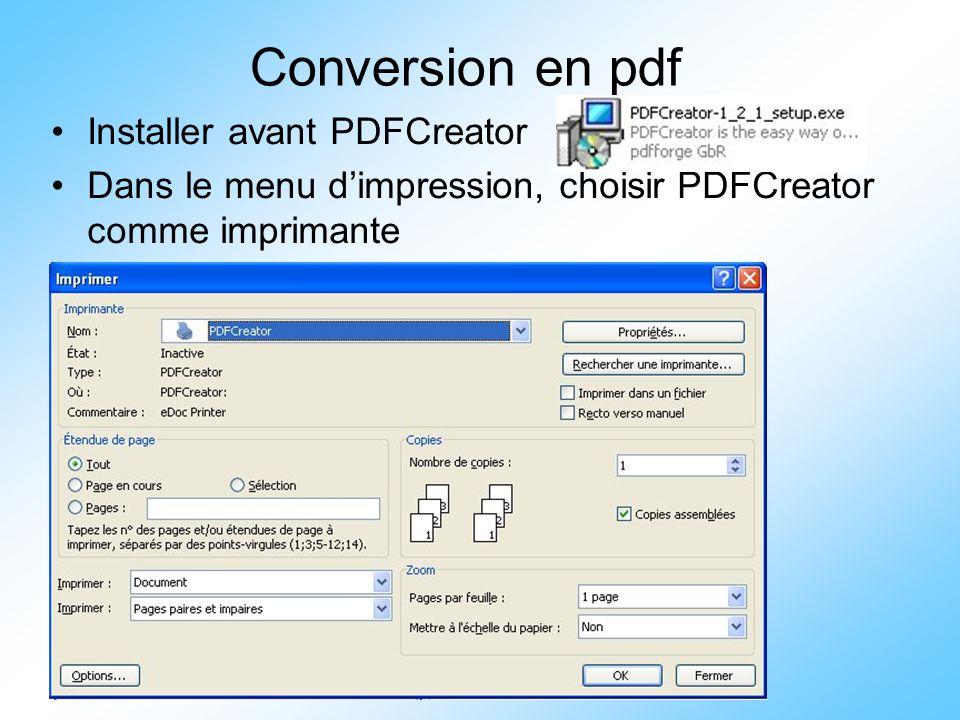 Conversion en pdf Installer avant PDFCreator