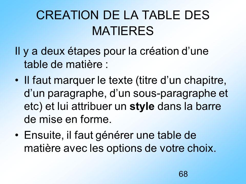 CREATION DE LA TABLE DES MATIERES