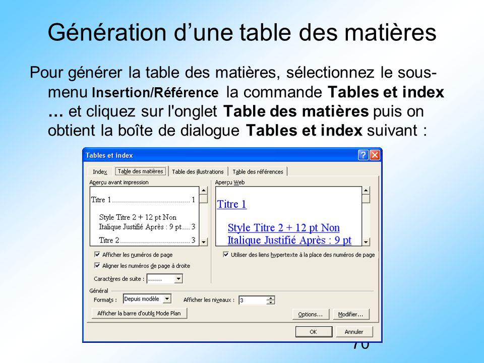 Génération d'une table des matières