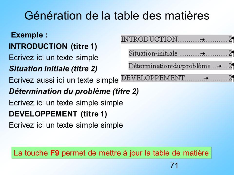 Génération de la table des matières