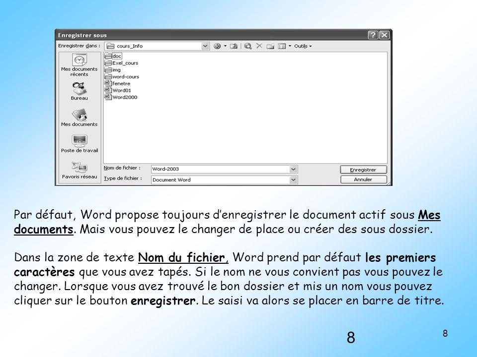 Par défaut, Word propose toujours d'enregistrer le document actif sous Mes documents. Mais vous pouvez le changer de place ou créer des sous dossier.