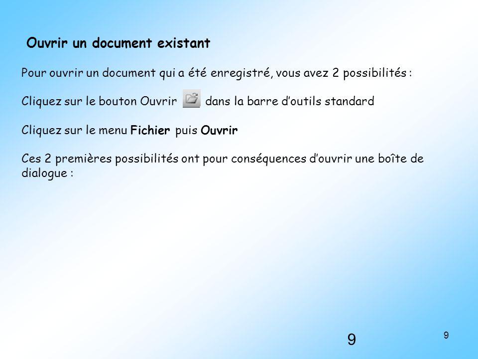 Ouvrir un document existant