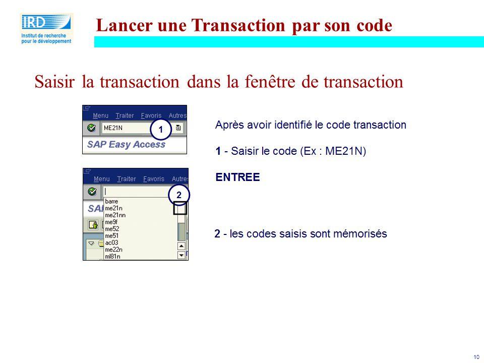 Lancer une Transaction par son code