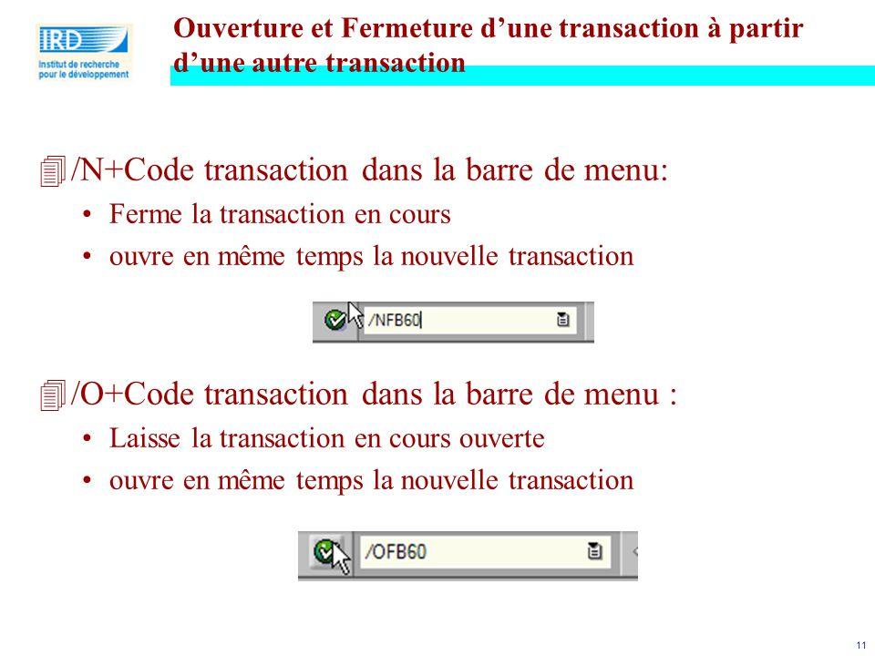/N+Code transaction dans la barre de menu: