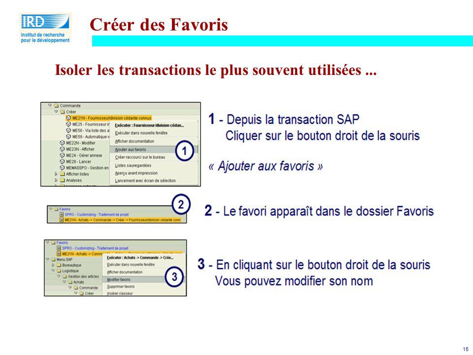 Créer des Favoris Isoler les transactions le plus souvent utilisées ...