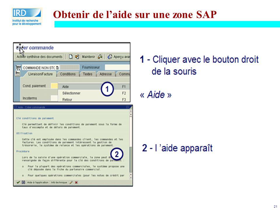 Obtenir de l'aide sur une zone SAP