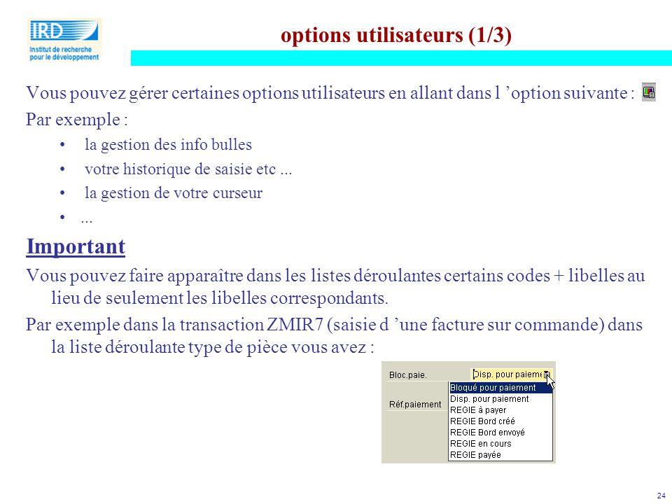 options utilisateurs (1/3)