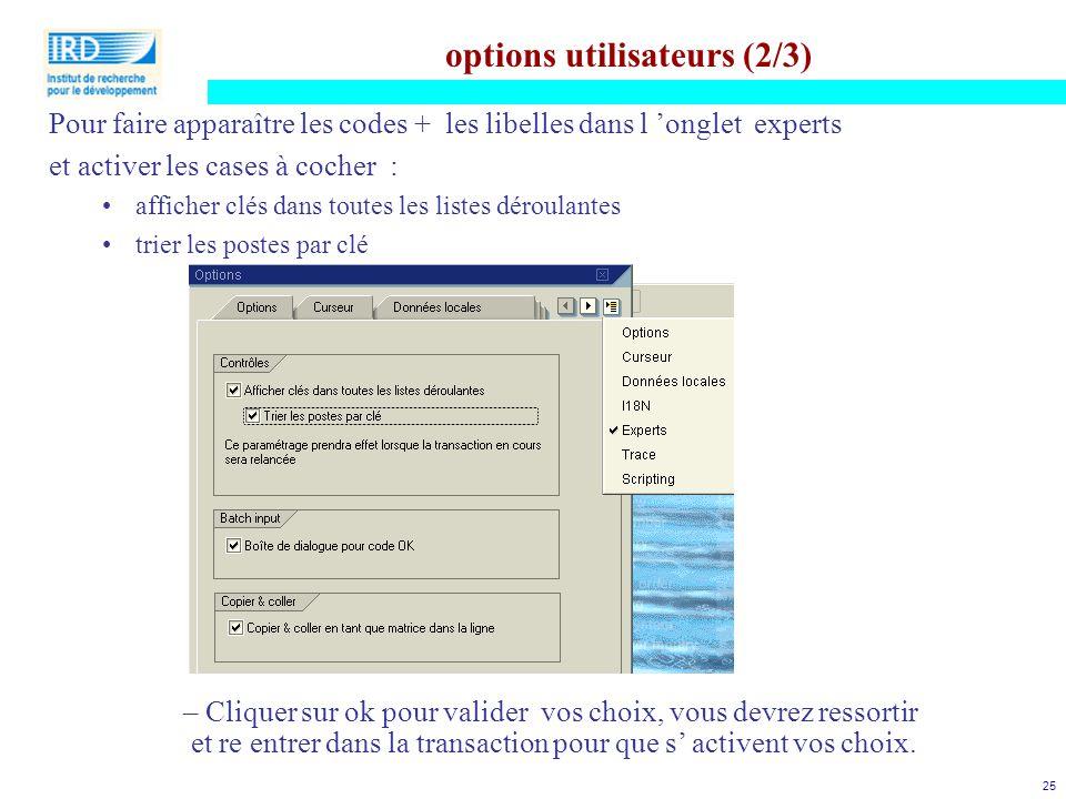options utilisateurs (2/3)
