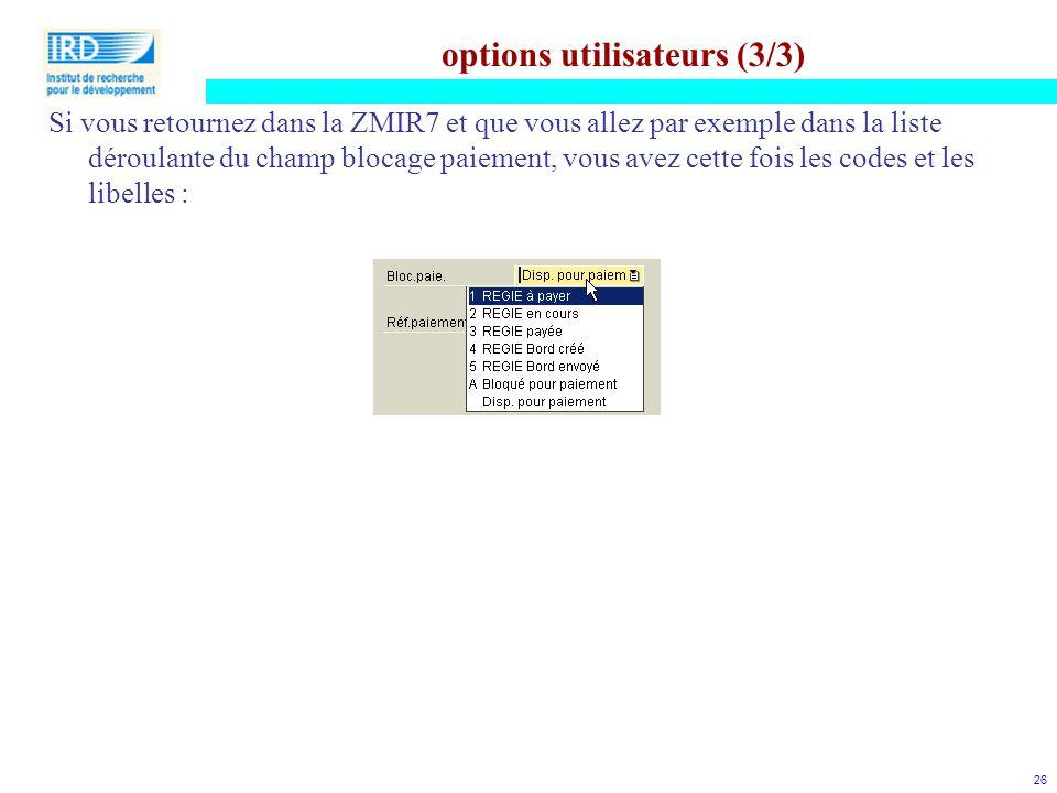 options utilisateurs (3/3)