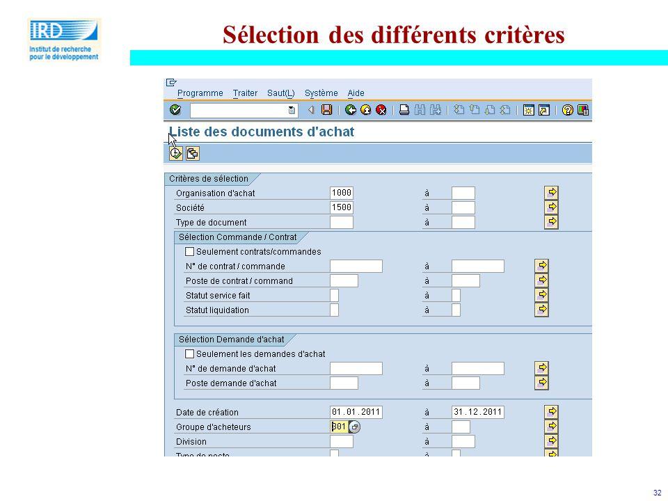 Sélection des différents critères