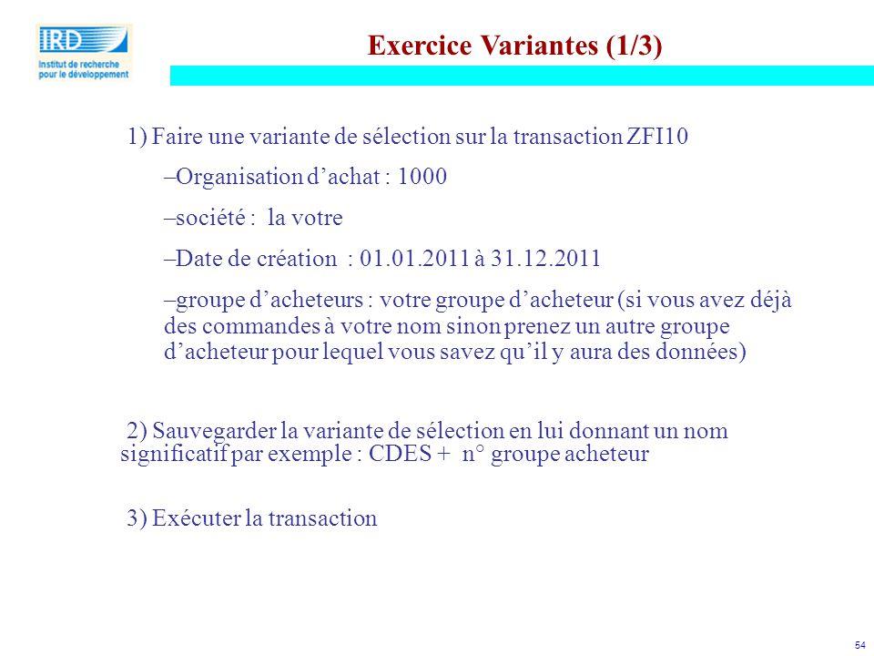 Exercice Variantes (1/3)