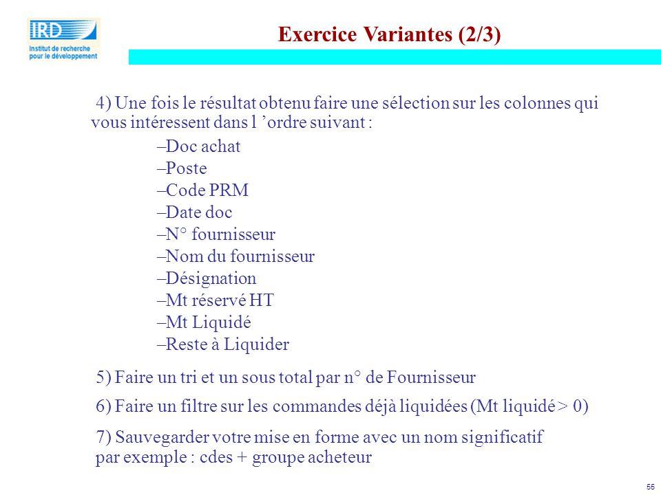 Exercice Variantes (2/3)