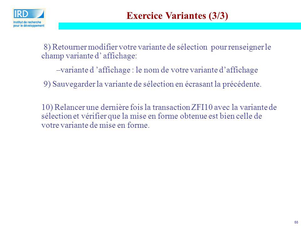 Exercice Variantes (3/3)