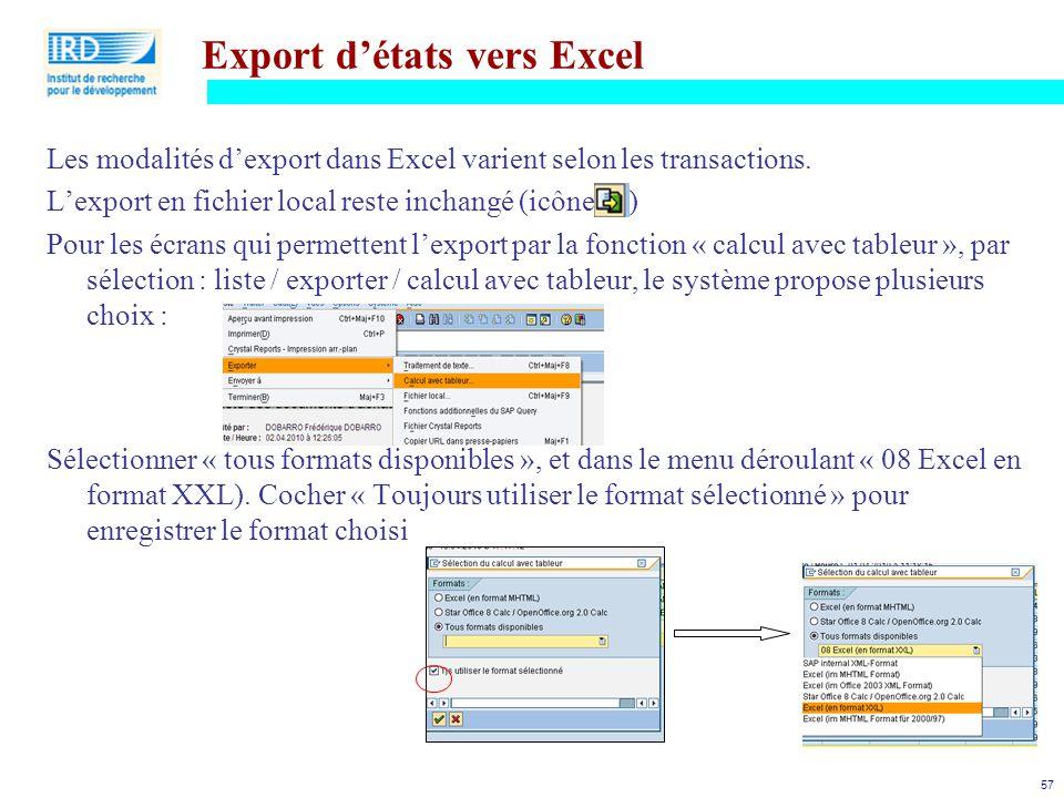 Export d'états vers Excel