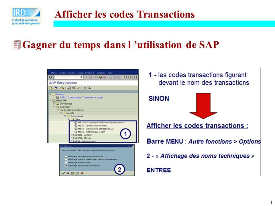 Afficher les codes Transactions