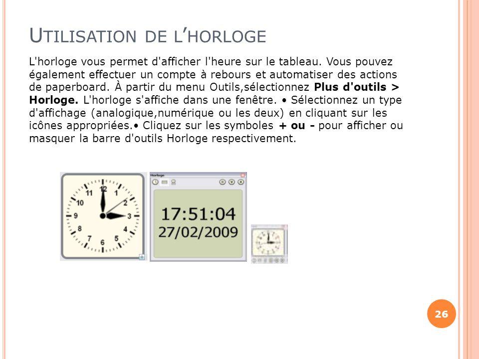 Utilisation de l'horloge