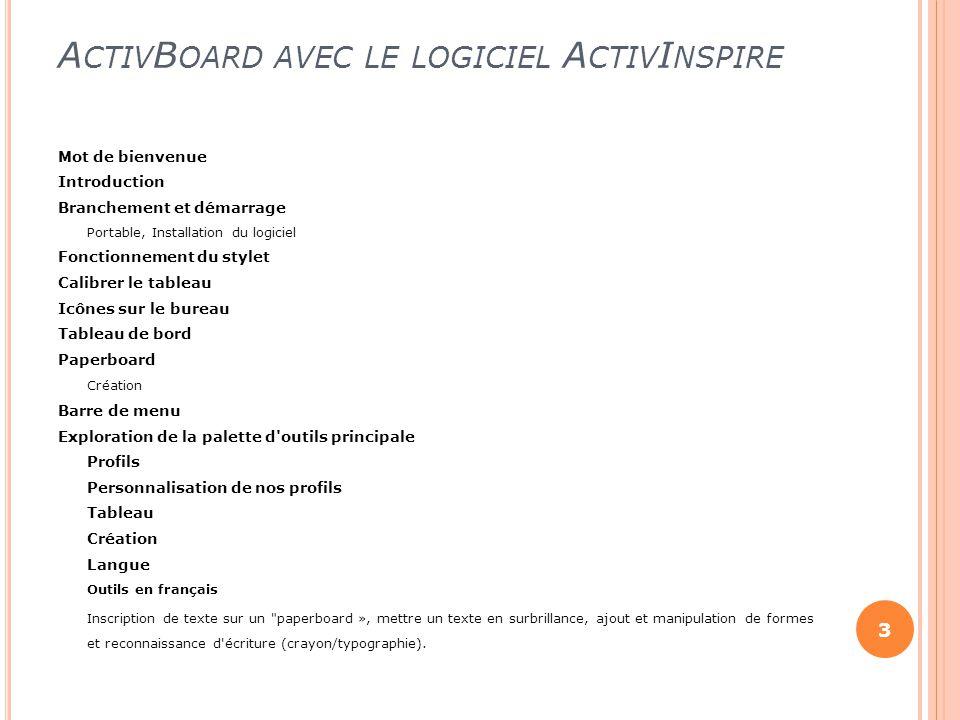 ActivBoard avec le logiciel ActivInspire